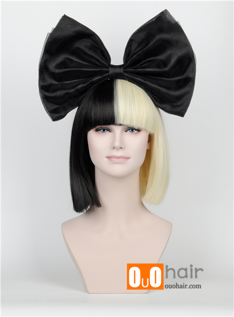 New Short Paragraph Hair Bow Set Long Bangs Half Black Blonde Sia Styling Party Wigs High End Mesh Big Human WigsHair Extensions