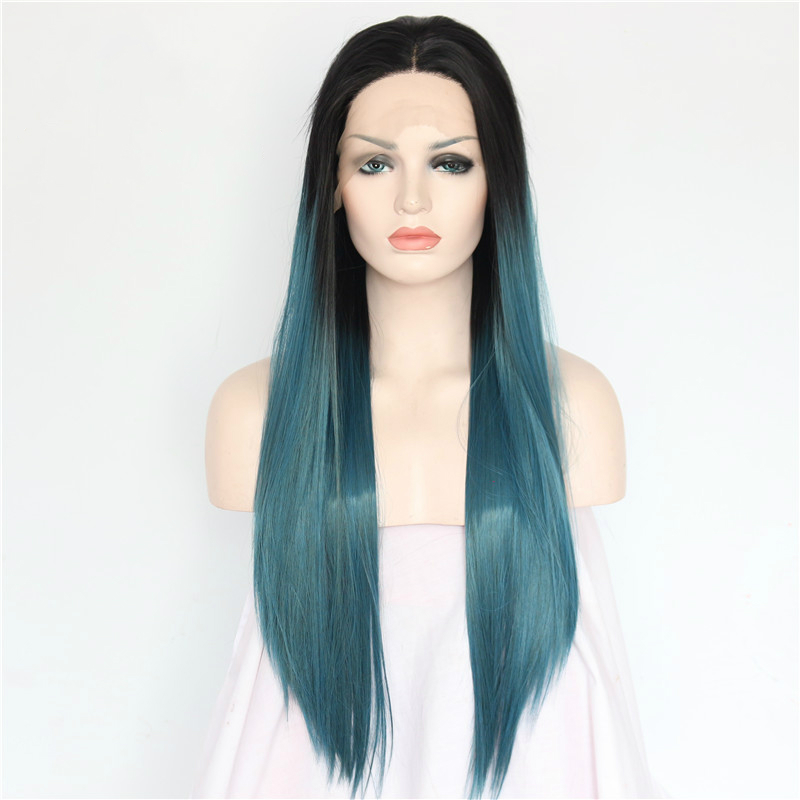 2019 New Fashion Wig Women s Lace Front wig long Staight Black Blue  synthetic fiber wig fc1292d13c