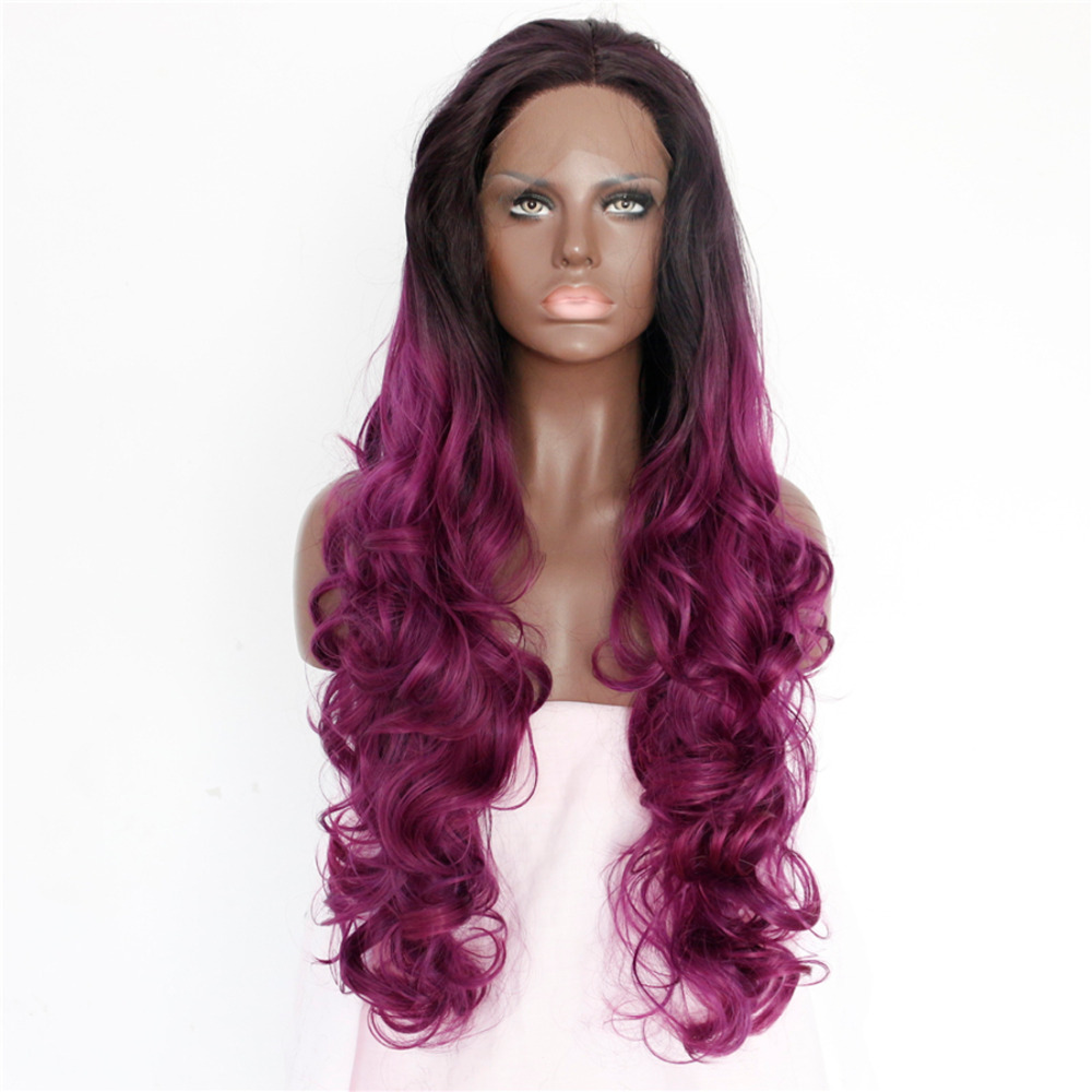 Womens Fashion Lace Wig Long Curly Black Purple Synthetic Fiber Wig