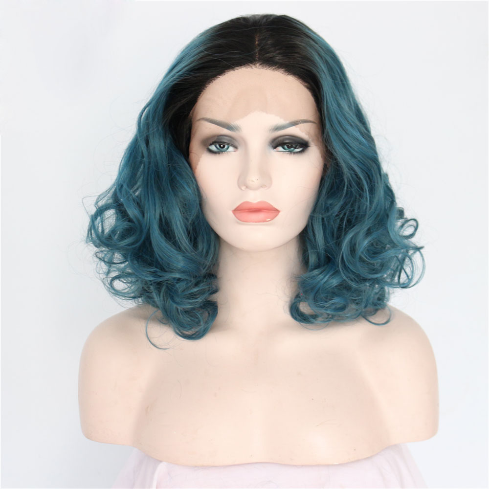 Fashion Womens Wig Lace Frontal Wig Short Curly Black Blue
