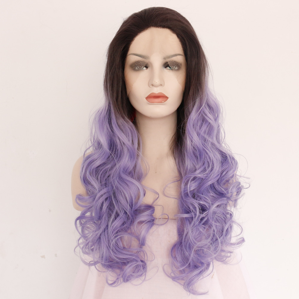 Women s wig Fashion Lace wig long Natural wavy black purple synthetic fiber  wig af36db6e44