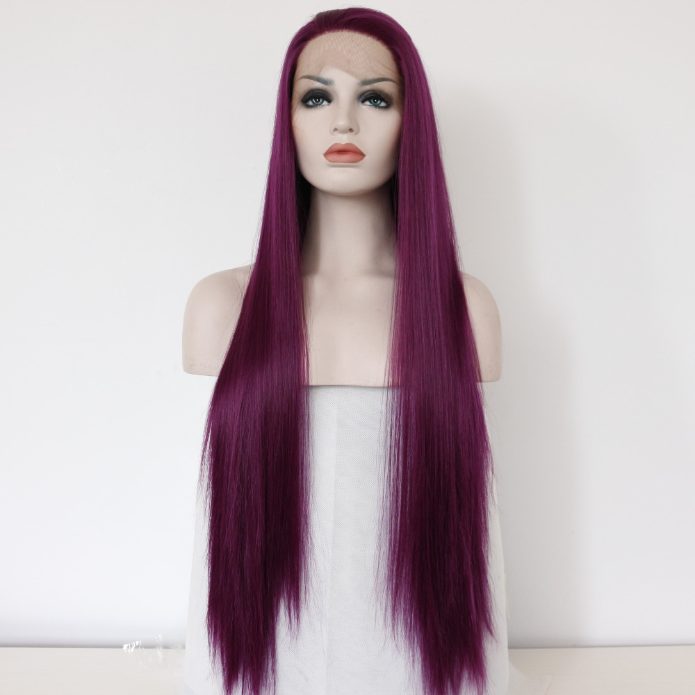lace wig Fashion Women s Wig Lace Front wig long Straight purple Synthetic  fiber wig cd4d98b83d