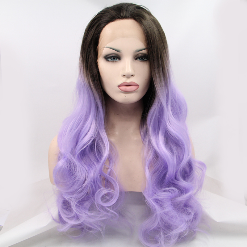 Lace Wig Fashion Wig Front Lace Wig Long Wavy Black Purple Synthetic