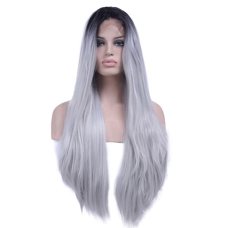 Synthetic Lace Front Wig Straight Heat Resistant Natural Hairline
